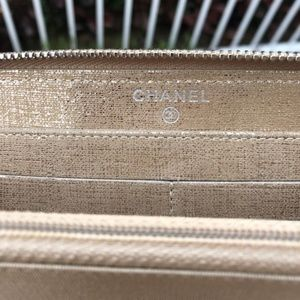CHANEL Bags - Gold Metallic L Gusset Wallet